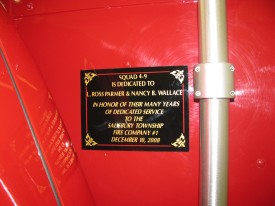 Dedication plaque on Squad 4-9