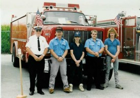 The firemen for the Honey Brook Fire Co. housing parade in front of Tanker 4-9 & Engine 4-9-1. L to R: Chief Parmer, Rodney Gossert, Ron Diem Jr., Scot Simmons, Larry Kurtz... 7/8/92