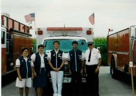 The ambulance crew for the Honey Brook Fire Co. housing parade in front of Ambulance 4-9. L to R: Sharon Long, Martha Riehl, Mike Killinger, Ken Eberly, Chief Parmer... 7/8/92