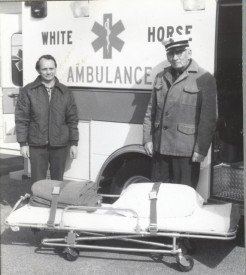 Chief Parmer (right) with the then new 1982 ambulance