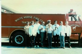 Chief Parmer (center) with the crew from Tanker 4-9 with trophies from Honey Brook's 1986 Parade.
