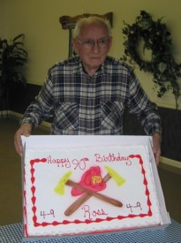 Chief Parmer with his birthday cake at a party held at Station 4-9 in 2007