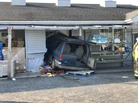 This minivan crashed into this business on Friendship Lane (Kirk Neidermyer photo)
