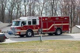 Engine 49-2 at the West Caln house fire. (Photo Courtesy of Irish Eyez Photography)