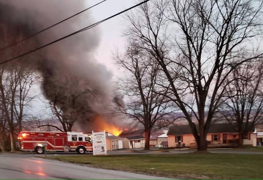 Engine 49-2 at the Quarry Road Fire. (Photo Courtesy of Keystone Valley FD Facebook page)