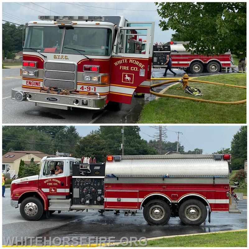 Engine 49-1 and Tanker 4-9 at the fill site at Saint Peter Catholic Church on Route 82 in West Brandywine Township