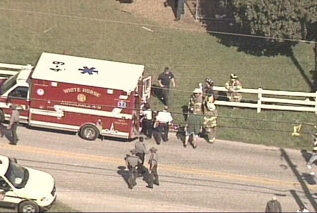 White Horse EMS on the scene, October 2, 2006. (WCAU-TV capture)
